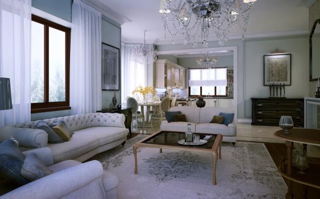 Interior living room kitchen